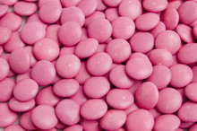 Detail Of Pink Smartie Sweets