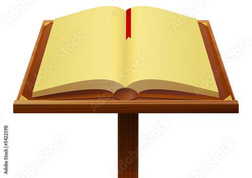 Livre Ancien Sur Son Pupitre En Bois Buy This Stock Vector
