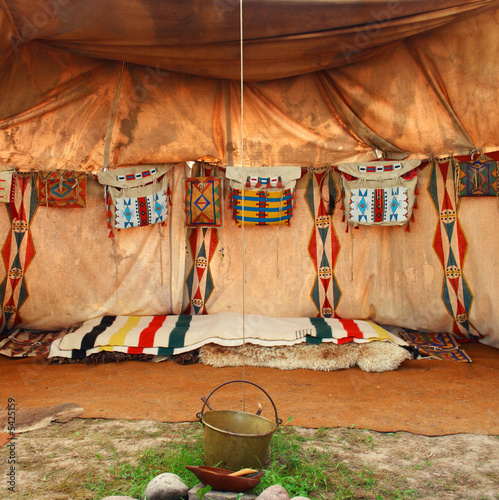 Canvas Prints Indians interior of the Indian tent