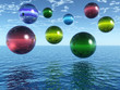 Multicolor rising balls from sea surface - 3d illustration.