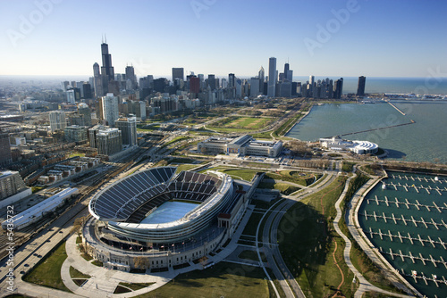 La pose en embrasure Stade de football Chicago, Illinois.