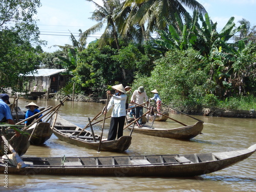 Barque sur le Mekong Marché flottant Cai Rang Fototapeta