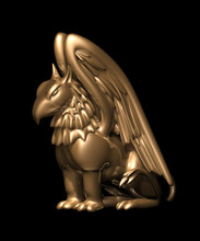 3d Statue Griffin From Gold, On A Black Background