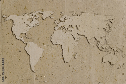 Fototapety, obrazy: vintage stone texture with world shape and shadows