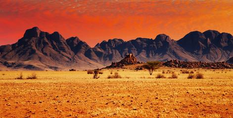 Fototapeta na wymiar Colorful sunset in Namib Desert, Namibia.