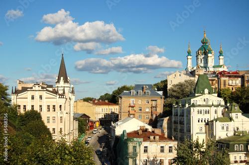 Foto op Plexiglas Kiev St. Andrew`s Church and tower of the king Richard Kiev, Ukraine