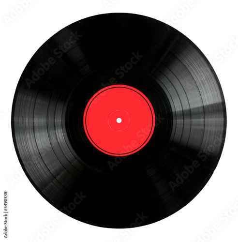Cuadros en Lienzo  Vinyl 33rpm record with red label.  With clipping path.