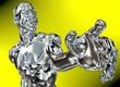 canvas print picture - Silber-Mann vor gelbem Hintergrund