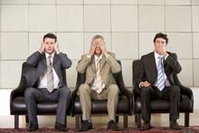 """Three Businessmen Showing """"hea..."""