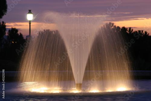 Autocollant pour porte Fontaine Fountain and dusk