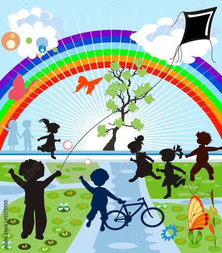In de dag Regenboog happy kids silhouettes
