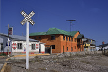 Rail Crossing In Creel, The Base Town Of Copper Canyon In Mexico