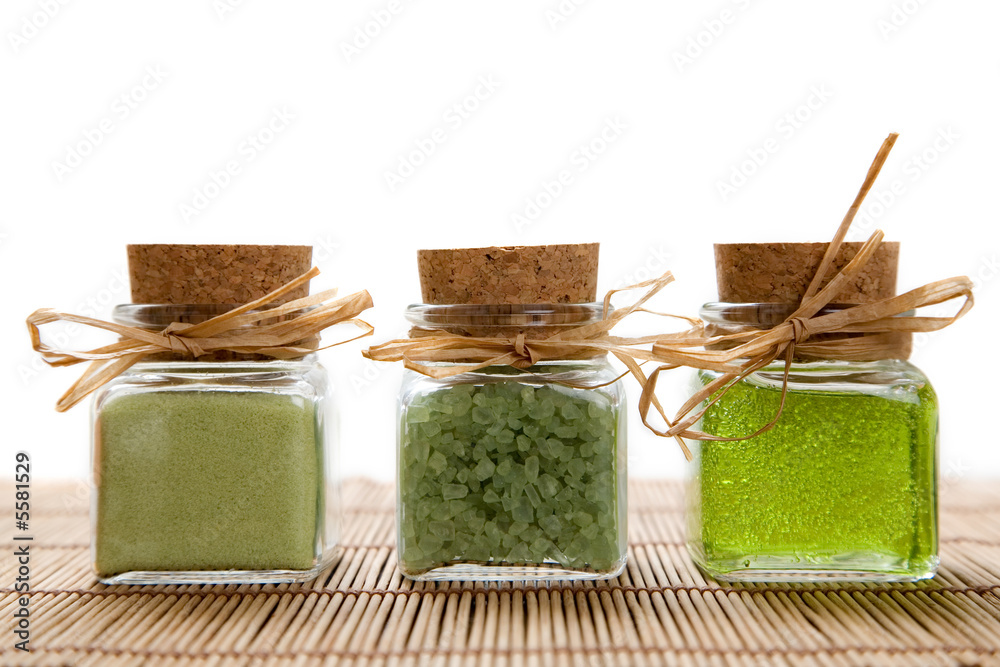 Fototapeta Green color bath salt and liquid soap