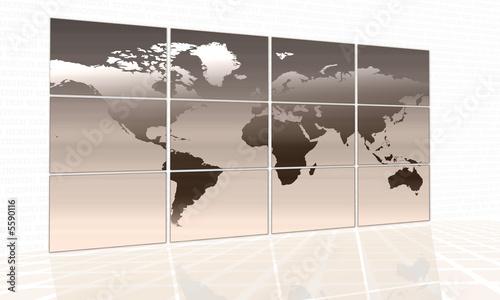World map on a huge orange screen