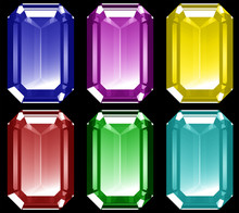 A Series Of 3d Gems Isolated O...