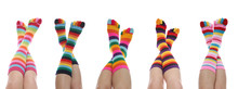 Five Women With Colorful Rainbow Striped Socks