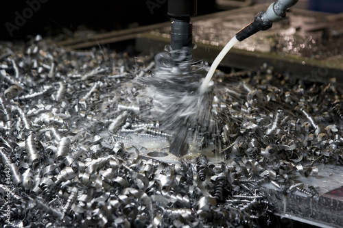 Valokuva  Metal shavings during drilling
