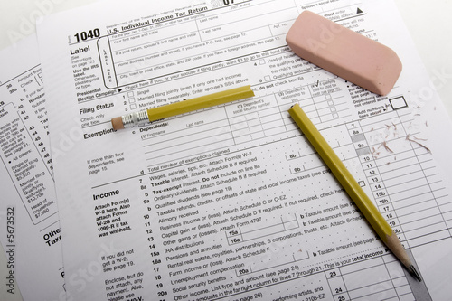 Tax Form with broken pencil (clipping path included) Canvas Print