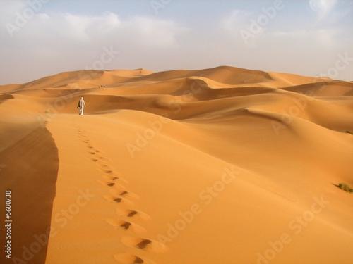 Photo  einsamer läufer in der Wüste