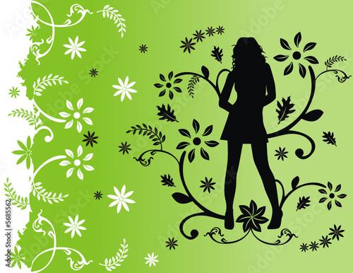 Floral femme vector floral woman composition