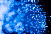 Fiber Optics Close-up, Focal Point On Distant Fibres