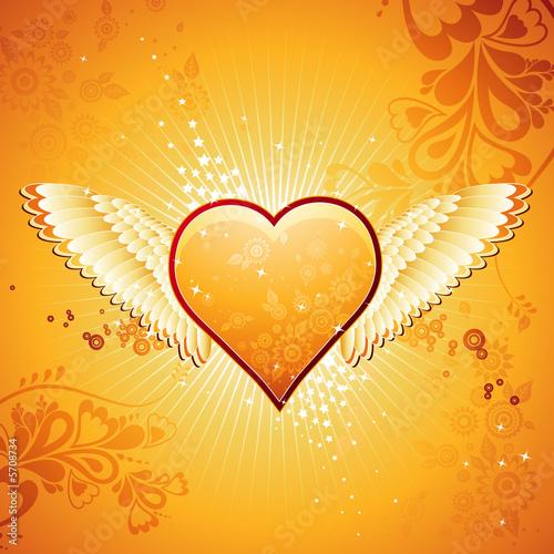 Foto-Stoff - golden heart for valentines, vector (von sunnyfrog)
