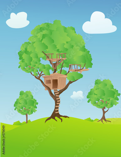 La pose en embrasure Forets enfants Treehouse in the countryside