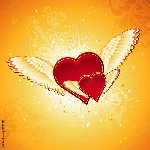 Foto-Stoff - two lovely red heart on golden background with wings, vector (von sunnyfrog)