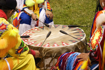 Indians around a drum at a Pow Wow