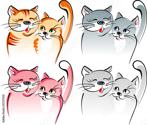 Cadres-photo bureau Chats Two cats in love - romance. Artistic vector illustration