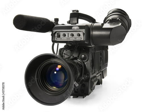 Fotografie, Obraz  Professional digital video camera, isolated on white background