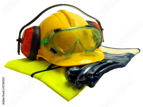 Photo Various worker safety equipment or gear isolated on white