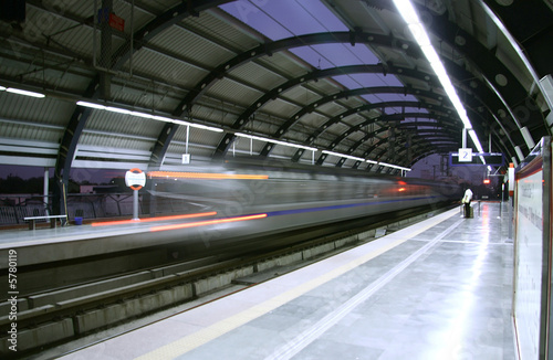 Canvas Prints Delhi metro zooming past station, delhi, india
