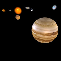 image of the solar system. focus on: Jupiter.With Clipping Path