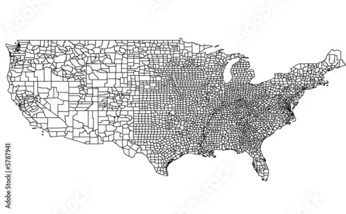 Photo  USA Map of the Counties
