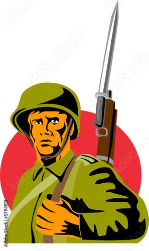 Deurstickers Militair Soldier with bayonet