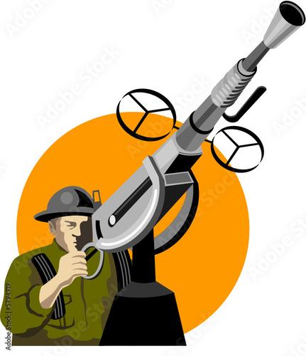 Poster Militaire Soldier manning an anti-aircraft gun