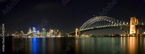 Sydney Harbour Bridge Skyline Panorama At Night