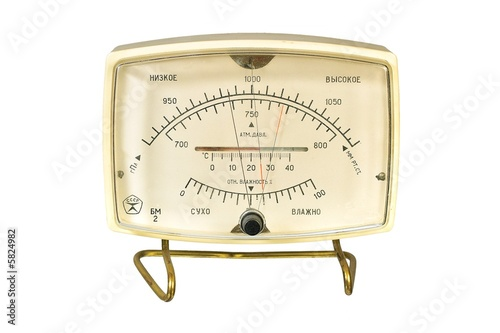 Household aneroid barometer hygrometer thermometer. Canvas Print