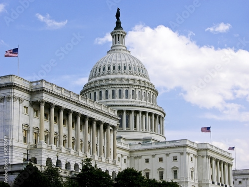 Fotografia, Obraz  US Capitol Building with 3 Flags Flying