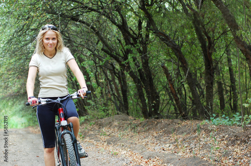 Door stickers Cycling girl riding outdoor