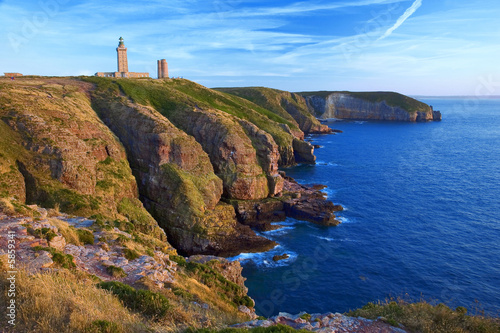 Fotografie, Obraz  Bretagne,22,cap Frehel :  falaises et phare