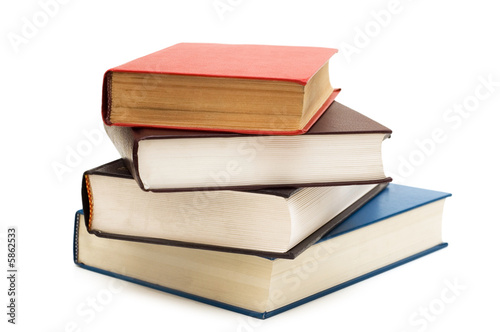 Fotografía  Four books isolated on the white background