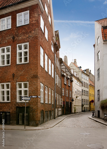 A street in the old town area of copenhagen Poster