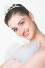 Fairytale Ballerina wearing a white tutu and tiara
