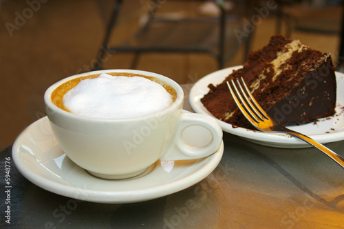 Fotografie, Obraz  Frothy coffee and chocolate cake