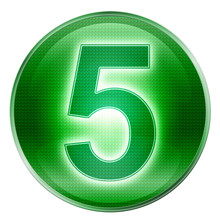 Number Five Icon Green, Isolat...