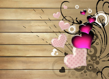 Artistic Background With Hearts Over Wooden Planks