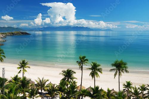Foto-Kissen - Beach Scene, Tropics, Pacific ocean