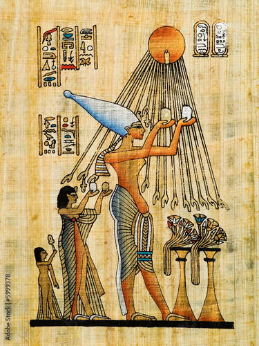 Foto-Stoff bedruckt - Egyptian papyrus, Ra offering (von Jose Ignacio Soto)